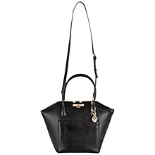 Buy DKNY French Grain Leather Satchel Handbag, Black Online at johnlewis.com