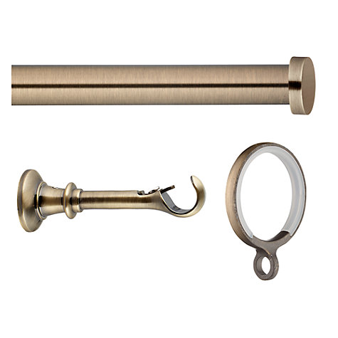Buy John Lewis Antique Brass Curtain Pole Kit, Traditional Brackets, L180cm x Dia.19mm Online at johnlewis.com