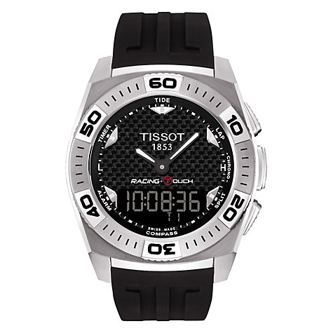 Buy Tissot T0025201720101 Men's Racing Rubber Strap Watch, Black Online at johnlewis.com