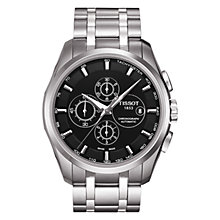 Buy Tissot T0356271105100 Men's Couturie Black Dial Chronograph Bracelet Watch, Silver Online at johnlewis.com