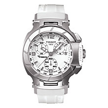 Buy Tissot T0482172701700 Women's T-Race Rubber Strap Watch, Silver / White Online at johnlewis.com