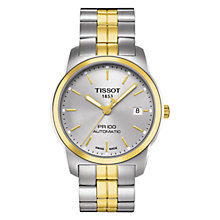 Buy Tissot T0494072203100 Men's PR100 Two-Tone Bracelet Watch, Silver / Gold Online at johnlewis.com