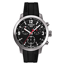 Buy Tissot Men's PRS200 Chronograph Leather Strap Watch, Black Online at johnlewis.com