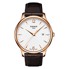 Buy Tissot T0636103603700 Men's Tradition Leather Strap Watch, Brown Online at johnlewis.com
