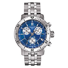 Buy Tissot Men's T0674171104100 PRS200 Chronograph Blue Dial Bracelet Watch, Silver / Blue Online at johnlewis.com