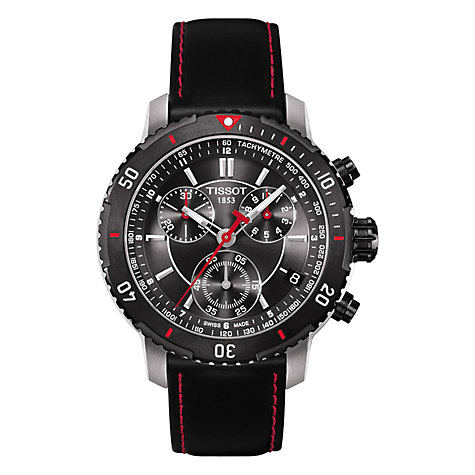 Buy Tissot Men's T0674172605100 PRS200 Chronograph Leather Strap Watch, Black Online at johnlewis.com