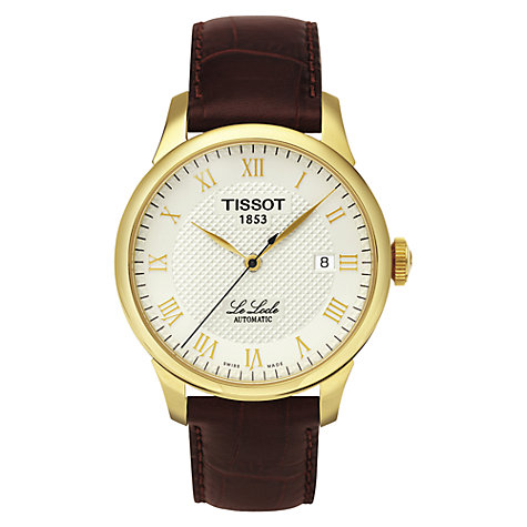 Buy Tissot T41541373 Men's Le Locle Leather Strap Watch, Gold / Brown Online at johnlewis.com
