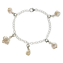 Buy A B Davis Sterling Silver Freshwater Pearl Charm Bracelet, Silver/White Online at johnlewis.com