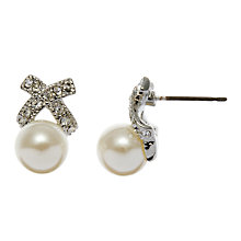 Buy John Lewis Cross And Pearl Stud Earrings, Silver/Pearl Online at johnlewis.com