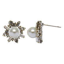 Buy John Lewis Jagged Diamanté and Pearl Stud Earrings, Dark Silver/Silver Online at johnlewis.com