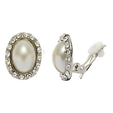 Buy John Lewis Oval Pearl and Diamanté Clip Earrings, Pearl Online at johnlewis.com