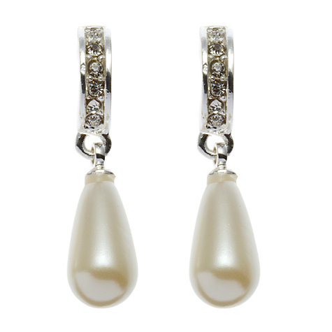 Buy John Lewis Hoop With Tear Drop Pearl Drop Earrings, Silver/Pearl Online at johnlewis.com