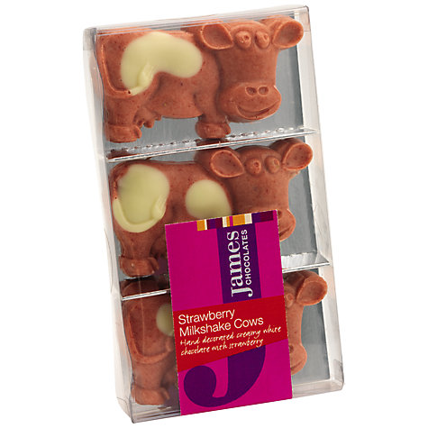 Buy James Chocolates Strawberry Milkshake Chocolate Cows, 60g Online at johnlewis.com