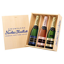 Buy Champagne Nicolas Feuillatte Wooden Brut Gift Box, 225cl Online at johnlewis.com