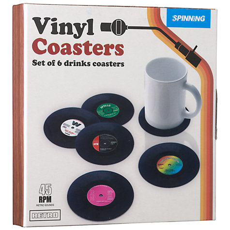 Buy Retro Vinyl Coasters, Pack of 6 Online at johnlewis.com