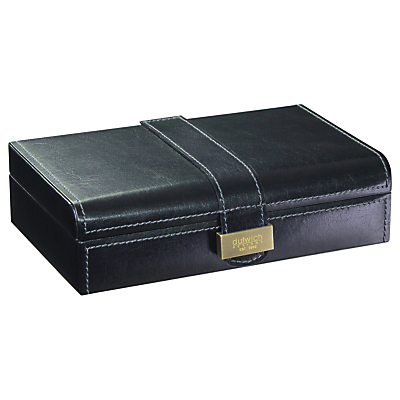 Dulwich Designs Heritage Cufflink Box, Leather, Black