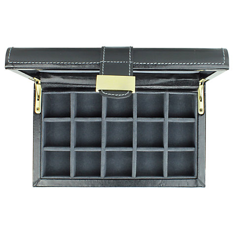 Buy Dulwich Heritage Cufflink Box, Leather, Black Online at johnlewis.com