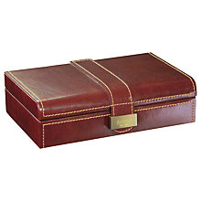 Buy Dulwich Heritage Cufflink Box, Leather, Brown Online at johnlewis.com