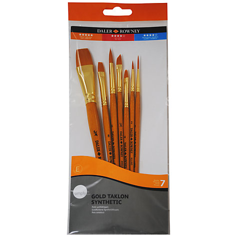 Buy Daler-Rowney Gold Taklon Short Handled Brushes, Set of 7 Online at johnlewis.com