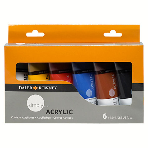 Buy Daler-Rowney Simply Acrylic Paint Set, 6 x 75ml Online at johnlewis.com