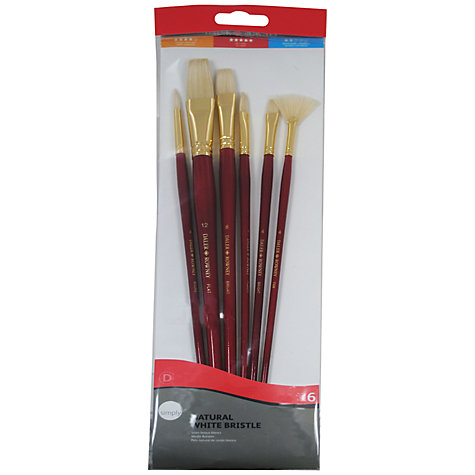 Buy Daler-Rowney White Bristle Long Handled Brushes, Set of 6 Online at johnlewis.com