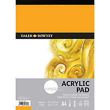 Buy Daler-Rowney Simply Acrylic A4 Pad, 16 sheets Online at johnlewis.com