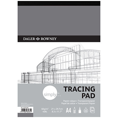 Buy Daler-Rowney Simply A4 Tracing Pad, 40 sheets Online at johnlewis.com