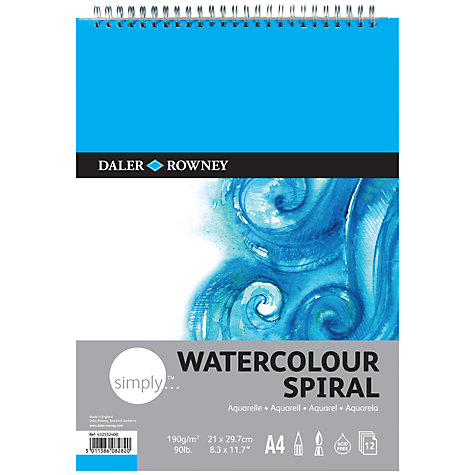 Buy Daler-Rowney Simply A4 Watercolour Spiral Pad Online at johnlewis.com