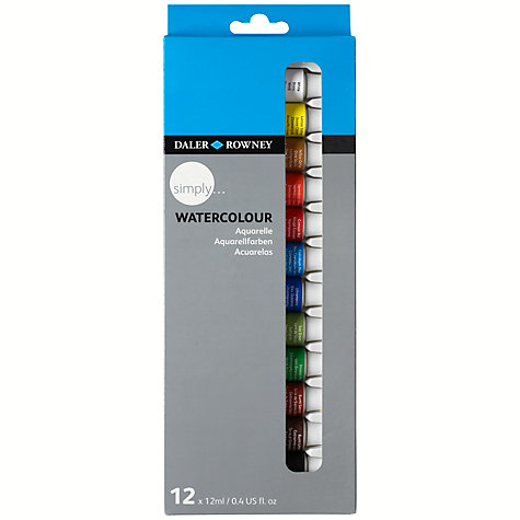 Buy Daler-Rowney Simply Watercolour Set, 12 x 12ml Online at johnlewis.com