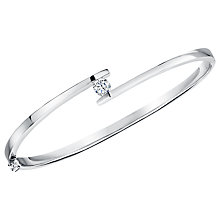 Buy Jools by Jenny Brown Parallel Lines Cubic Zirconia Bangle, Silver Online at johnlewis.com