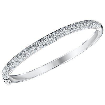 Jenny Brown Cubic Zirconia Hinged Pave Set Bangle, Silver