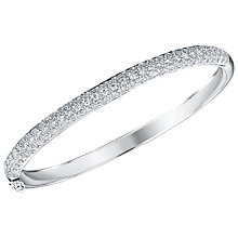 Buy Jenny Brown Cubic Zirconia Hinged Pave Set Bangle, Silver Online at johnlewis.com