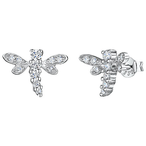 Buy Jools by Jenny Brown Cubic Zirconia Dragonfly Stud Earrings, Silver Online at johnlewis.com