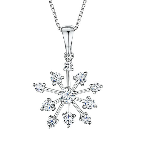 Buy Jools by Jenny Brown Cubic Zirconia Snowflake Pendant Necklace, Silver Online at johnlewis.com