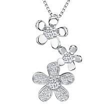 Buy Jools by Jenny Brown Cubic Zirconia 3 Flowers Pendant Necklace, Silver Online at johnlewis.com