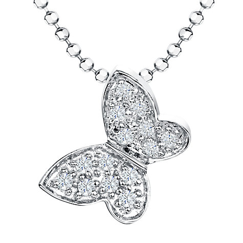 Buy Jools by Jenny Brown Cubic Zirconia Butterfly Pendant Necklace, Silver Online at johnlewis.com