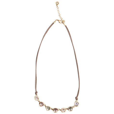 Buy One Button Crystal Sone Row Cord Necklace, Beige Online at johnlewis.com