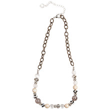 Buy One Button Beaded Fabric Chain Necklace, Natural Online at johnlewis.com