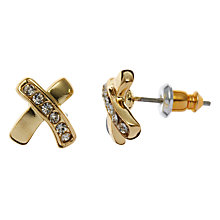 Buy John Lewis Diamonte Cross Stud Earrings, Gold Online at johnlewis.com