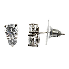 Buy John Lewis Double Diamante Stud Earrings, Silver Online at johnlewis.com