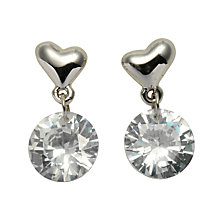 Buy John Lewis Heart and Crystal Sparkle Drop Earrings, Silver Online at johnlewis.com