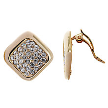 Buy John Lewis Square Diamanté Clip Earrings, Gold Online at johnlewis.com