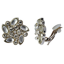 Buy John Lewis Flat Pattern Diamanté Clip Earrings, Silver Online at johnlewis.com