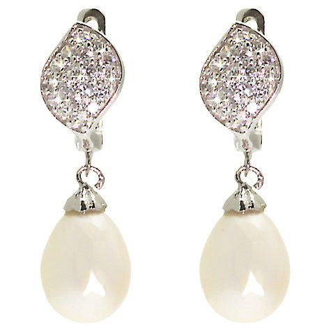Buy Lido Pearls Cubic Zirconia Leaf & Oval Pearl Drop Earrings, White Online at johnlewis.com