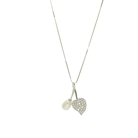 Buy Lido Pearls Cubic Zirconia Set Heart & Pearl Pendant Necklace, White Online at johnlewis.com