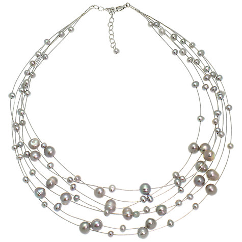 Buy Lido Pearls 7 Strand Illusion Pearl Necklace, Silver Online at johnlewis.com