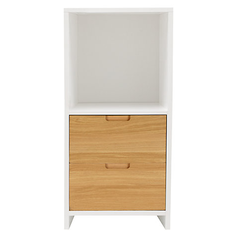Buy House by John Lewis Oxford 1 x 2 Unit with 2 Drawers, White/ Oak Online at johnlewis.com