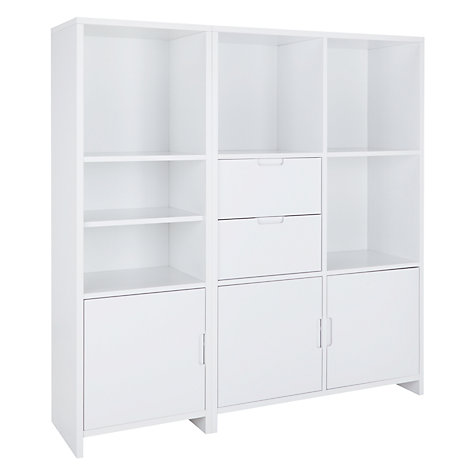 Buy House by John Lewis Oxford Unit with 5 Shelves, 3 Doors and 2 Drawers, White Online at johnlewis.com