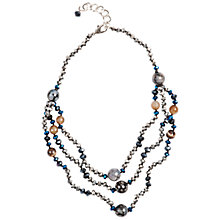 Buy One Button 3 Layered Beaded Necklace, Blue Online at johnlewis.com