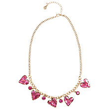 Buy One Button 5 Enamel Heart Charms Necklace, Gold/Pink Online at johnlewis.com